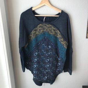 Blue terry cloth pullover